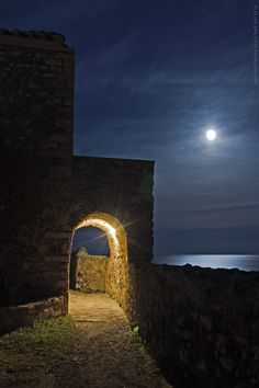 Photograph Moon lines Entering the side gate. by Elias Spiliotis on Yves Klein, Dark Fantasy, Monemvasia Greece, Wonderful Places, Beautiful Places, Myconos, Places In Greece, Paradise On Earth, Beautiful Moon