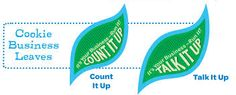 Girl Scout Leader 101: Daisy: Count It Up Leaf, Talk it Up Leaf, Cookie Activity Pin