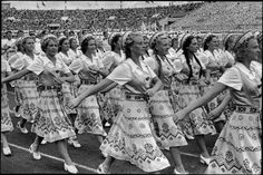 SOVIET UNION. Russia. Moscow. 1954. Stade Dynamo. Every year in July delegations from all over the Soviet Union gather to celebrate the day of sports. by Henri Cartier-Bresson