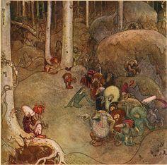 """""""Trollsonen som hade solögon och vart skogsman"""" tale, from """"Bland Tomtar och Troll"""" (1912), illustrated by Jonh Bauer)"""