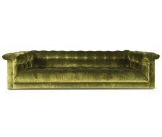 Tufted upholstered sofa on recessed upholstered feet. Settee Sofa, Upholstered Sofa, Furniture Styles, It Is Finished, Studio, Party, Living Room, San Francisco, Sky Bar