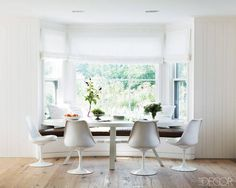 The breakfast area of a contemporary Nantucket home