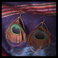 Peacock & Copper Drop Earrings A boho princess needs these peacock and slender copper hoop earrings  Forever 21 Jewelry Earrings