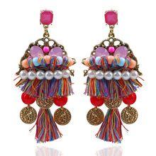 WNGMNGL 2018 New Boho long earring hanging drops tassels earring for women ethnic statement dangle Jewelry Colourful bijouterie (As photo show) Silk Thread Earrings, Long Tassel Earrings, Women's Earrings, Fashion Jewelry, Women Jewelry, Jewelry Box, Vintage Jewelry, Gland, Boho Accessories
