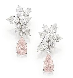 """Sotheby's """"Magnificent Jewel's"""" auction ~ Rare, Flawless, Pink and White Diamond Earrings"""