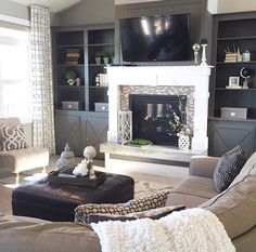Cabinets, yes. TV above fireplace, stupid. Study Room Decor, Home Decor Bedroom, Living Room Decor, Diy Bedroom, Cosy Room, Japanese Home Decor, Target Home Decor, Living Room With Fireplace, Formal Living Rooms