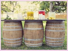 Wedding Drink Bar: lemonade stand on barrels... OMG! I wish!
