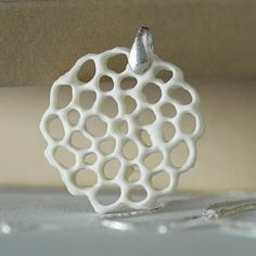white porcelain and sterling silver necklace Gardenia. by wapa