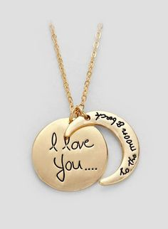 Engraved I Love You to the Moon and Back Necklace in Gold