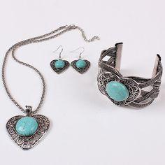 Antique Silver Turquoise Rhinestones Heart Necklace Earrings Bracelet Bangle Set