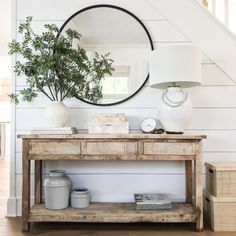 Farmhouse Tour Friday {vol. // Loving this farmhouse entryway with black round mirror, greenery, and coastal buffet table. Farmhouse Tour Friday {vol. // Loving this farmhouse entryway with black round mirror, greenery, and coastal buffet table. Black Round Mirror, Round Mirrors, Rooms For Rent, Home Decor Inspiration, Design Inspiration, Design Ideas, Entryway Tables, Entry Table With Mirror, Entryway Ideas