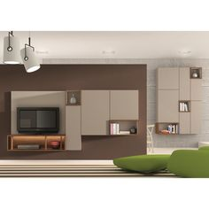 Contemporary tv wall unit metal lacquered modular for Meuble hifi mural wall