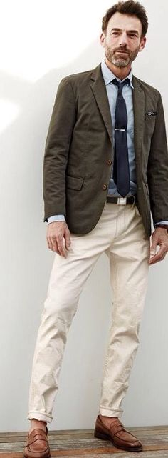 J.Crew men's Ludlow sportcoat in Italian garment-dyed cotton, Secret Wash shirt in azure striped end-on-end cotton, 484 jean in rinsed wheat and Ludlow penny loafers.