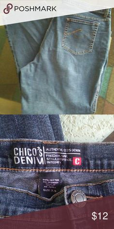 Chico's jeans Chico's denim blue jeans👖size 3.5 average Chico's Jeans Flare & Wide Leg