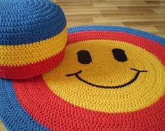 Crochet round rugs, Woodland Nursery Rug, Poufs, Basket by Lunarug Baby room – Home Decoration Crochet Carpet, Crochet Home, Crochet Baby, Knit Rug, Crochet Rug Patterns, Crochet Decoration, Nursery Rugs, Crochet Round, Round Rugs