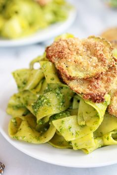 Fried Zucchini + Mint and Pistachio Pesto Pappardelle Pasta - Half Baked Harvest