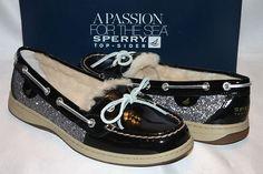 New NIB Sperry Top Sider Angelfish Black Nubuck Glitter Shearling Boat Shoe. I want!!!!