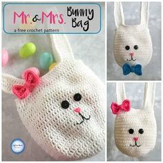 Use this free crochet pattern to make these bunny bags for all of your egg hunters this Easter! This beginner friendly pattern is made with worsted weight yarn and simple embellishments.