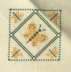 Vintage Finished Butterflies Cross Stitch Sampler Butterfly Green Yellow 5 x 5 inch Quilt Block Completed
