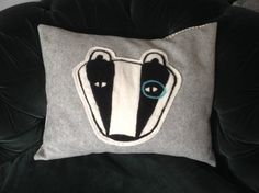 Needlefelted badger cushion. by scampandhoney on Etsy