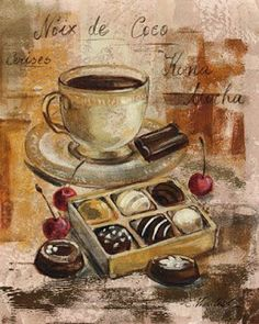 Ilustraciones para la cocina 2 Still lifes with chocolate. For decoupage . Discussion on LiveInternet - Russian Service of Online Diaries you can fin. Decoupage Vintage, Decoupage Paper, Coffee Art, I Love Coffee, Coffee Break, Vintage Labels, Vintage Cards, Vintage Pictures, Vintage Images