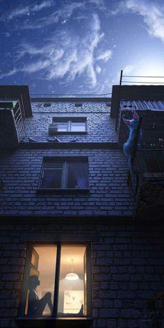 nachts aus dem Fenster schaun