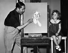 Shirley Temple gets her portrait drawn,Baby Take Bow,1934.
