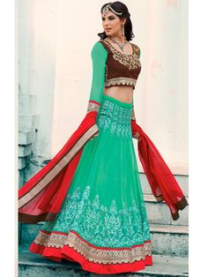Green embroidered net unstitched lehenga with dupatta
