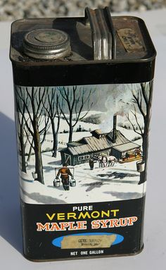 Early Vintage Vermont Maple Syrup Tin Can w by SeaGlassPrimitives. My Dad loved the maple syrup in the tin.