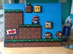 Super Mario scene perler beads by mattyperler