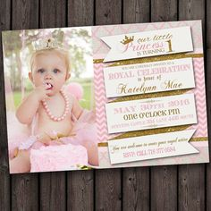 Pink Gold First Birthday Invitation Picture Customized For You