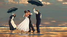 A wedding dance on the beach