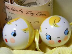 Vintage Baby Shoes with Handpainted Heads Rattles Yellow w Paperwork Box image #1