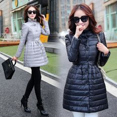 TE9816LGSS Winter bowknot back slim waist cotton-padded coat