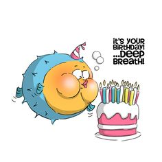 Ai Zoo Crew 2014 from Art Impressions. Blow fish with cake. Deep Breath Birthday (Sku#4471)