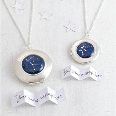 Cassiopi Personalised Zodiac Constellation Locket Necklace (930 THB) ❤ liked on Polyvore featuring jewelry, necklaces, locket necklace, silver jewellery, locket jewelry, silver necklace and silver jewelry