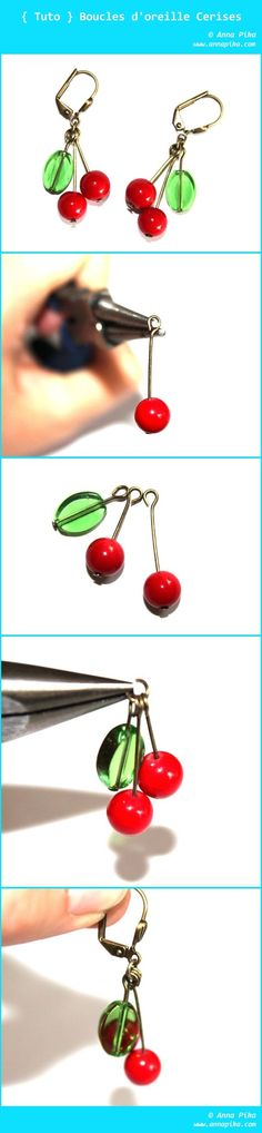 Very simple DIY Cherry earrings