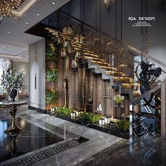 Home Stairs Design, Home Room Design, Dream Home Design, Modern House Design, Staircase Interior Design, Dream House Interior, Luxury Homes Dream Houses, Luxury Staircase, Lobby Design