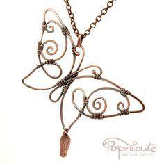 Butterfly Spread Wings Wire Wrapped Copper Pendant Handmade Necklace | popnicute - Jewelry on ArtFire