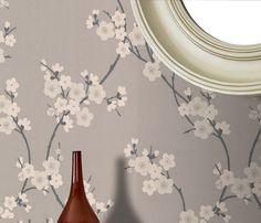 Kirschblüte Taupe / Tapete Dunkelgrau von Graham and Brown