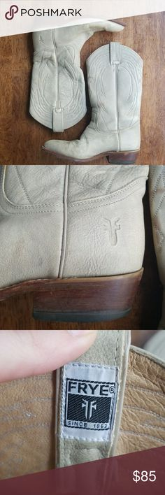 Frye Cowboy boots Beautiful Frye cowboy boots. Tan ish gray color. These boots have been worn and are definitely broken in, however if you're familiar with the Frye brand, you know that the leather is like butter and these are classic and always in style. Frye Shoes Heeled Boots