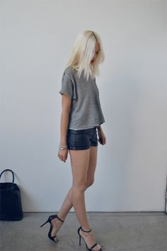 Casual Summer Black Leather Shorts Grey T Shirt Black Heels