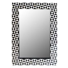 "Black and White Geometric Horn Tile Mirror by Flair, 40"" high x 20"" wide x 2"" deep, $1950, flairhomecollection.com"