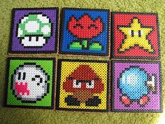 Super Mario coasters made from perler beads and backed with vinyl coated linoleum