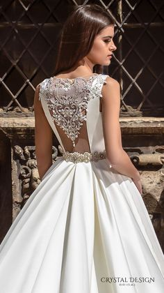 crystal design bridal 2016 sleeveless boat neckline modern simple embellished belt elegant a  line wedding dress illusion back long train (valencia) zbv