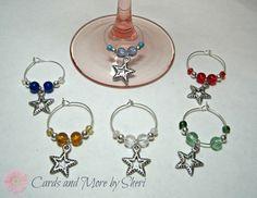 Wine Glass Charms  Stars by CardsAndMoreBySheri on Etsy, $16.99