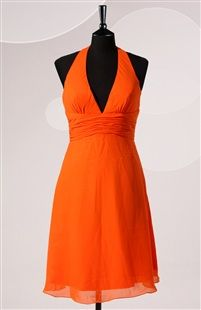 A-Line V-neck Short Halter Orange Bridesmaid Dress