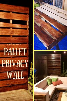 Pallet Outdoor Furniture Vertical Pallet Privacy Wall For Our Garden - I made this Vertical Pallet Privacy Wall for our garden to create a private place for us to relax. It can be turned into a vertical planter, too! Dog Fence, Pallet Fence, Pallet Privacy Fences, Privacy Wall Outdoor, Pallet Pergola, Pasture Fencing, Fence Stain, Pallet Bar, Outdoor Pallet