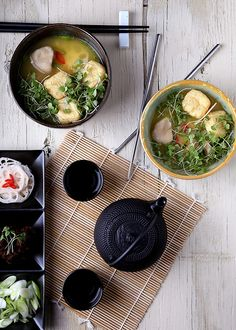 Miso-Scented Soup with Tofu Puffs