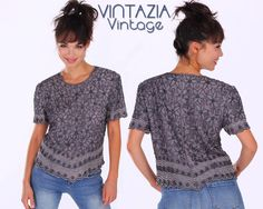VTG 80s Blue Silver Beaded Silk Beaded Floral Top Blouse by VINTAZIAVintage, $48.00